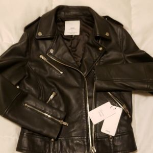 Mango leather jacket black slim new